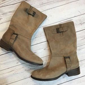 COLE HAAN Buckle Mid Calf Tan Leather Boots